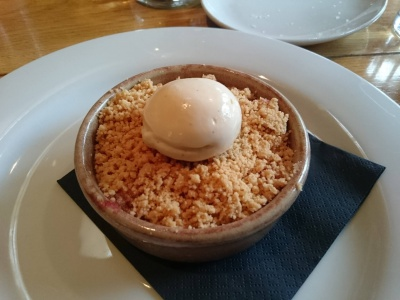 Apple and plum crumble, a prime pudding.