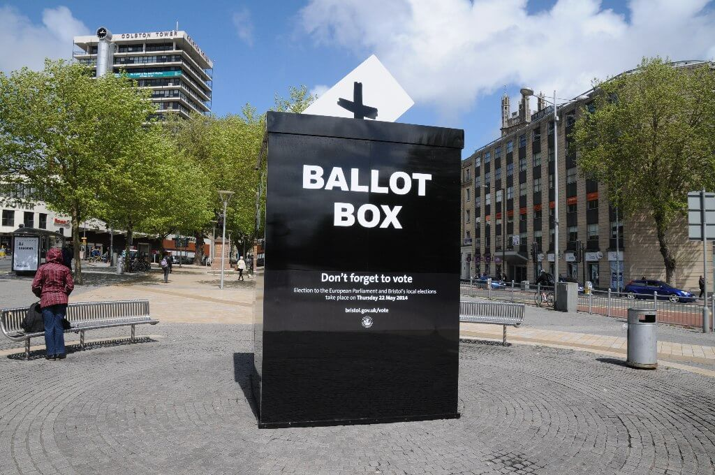 'Don't forget to vote' ballot box on Broad Quay in Bristol