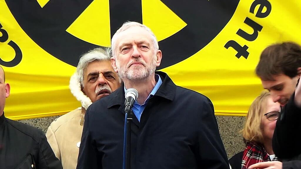 Jeremy Corbyn speaking at a stop trident rally in 2016