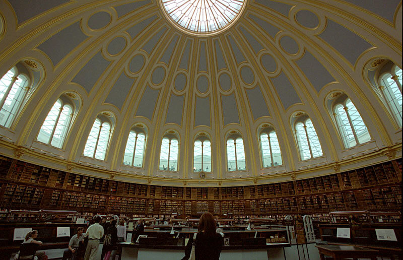 The brilliant British Museum Reading Room, featured in many Hollywood classics.